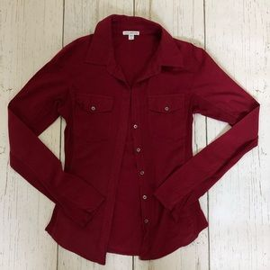 Red Standard James Perce Button Down Top - Size 2